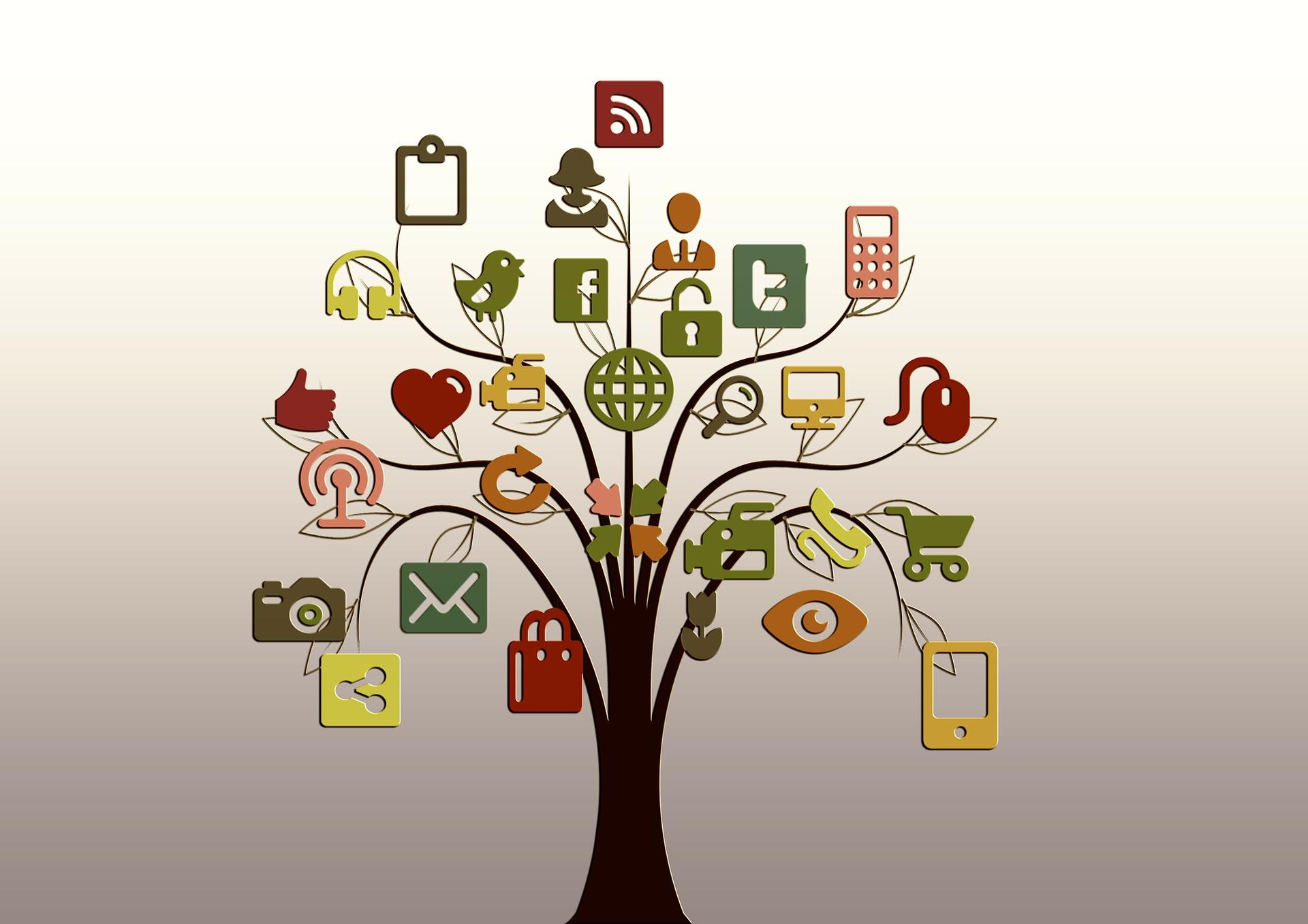 Social Media Trends wachsen als Baum